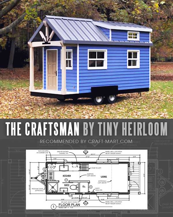 Tiny House Trailer - The Craftsman by Tiny Heirloom - One of the 17 Best Custom Tiny House Trailers and Kits with Plans, the most affordable tiny houses on wheels. You can order a shell to be built or build it yourself using this mobile tiny house plans saving thousands of dollars. #tinyhouse #tinyhouseplans #minimalism #diy