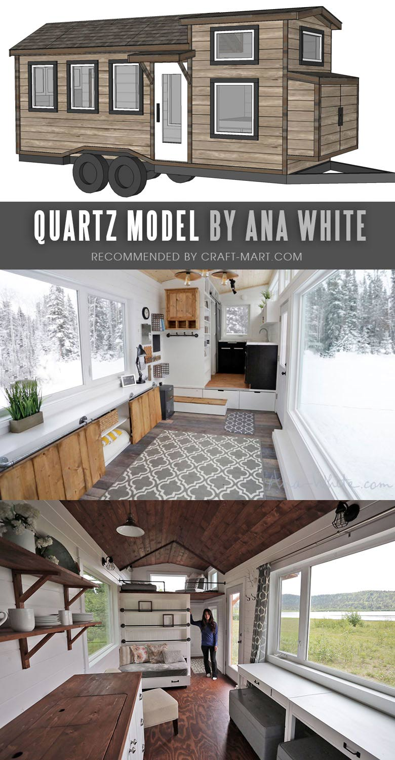 Open Concept Modern Tiny House with FREE Detailed Plans and Instructional Videos by Ana White. Tiny House Trailer - by Ana White - one of the most affordable tiny houses on wheels. You can order it to be built or build it yourself using this mobile tiny house plans. #tinyhouse