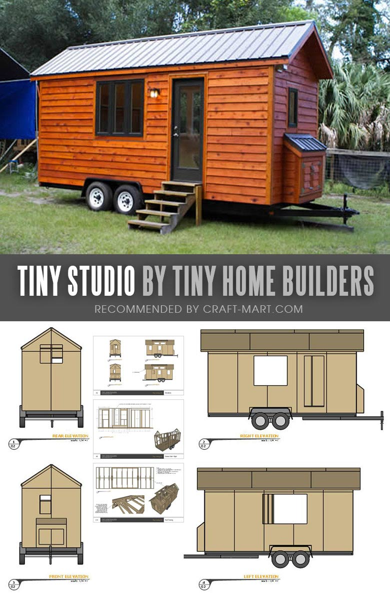 Tiny House Trailer - Tiny Studio by Tiny Home Builders - Enroll in one of the Tiny Home Builders workshops and get mobile tiny house plans to save thousands of dollars. #tinyhouse #tinyhouseplans #minimalism #diy