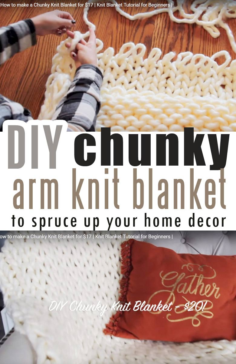 How to make a Chunky Knit Blanket for $17 | Knit Blanket Tutorial for Beginners using arm knitting blanket yarn #armknitting #chunkyblanket #cheapchunkyblanket #diychunkyblanket