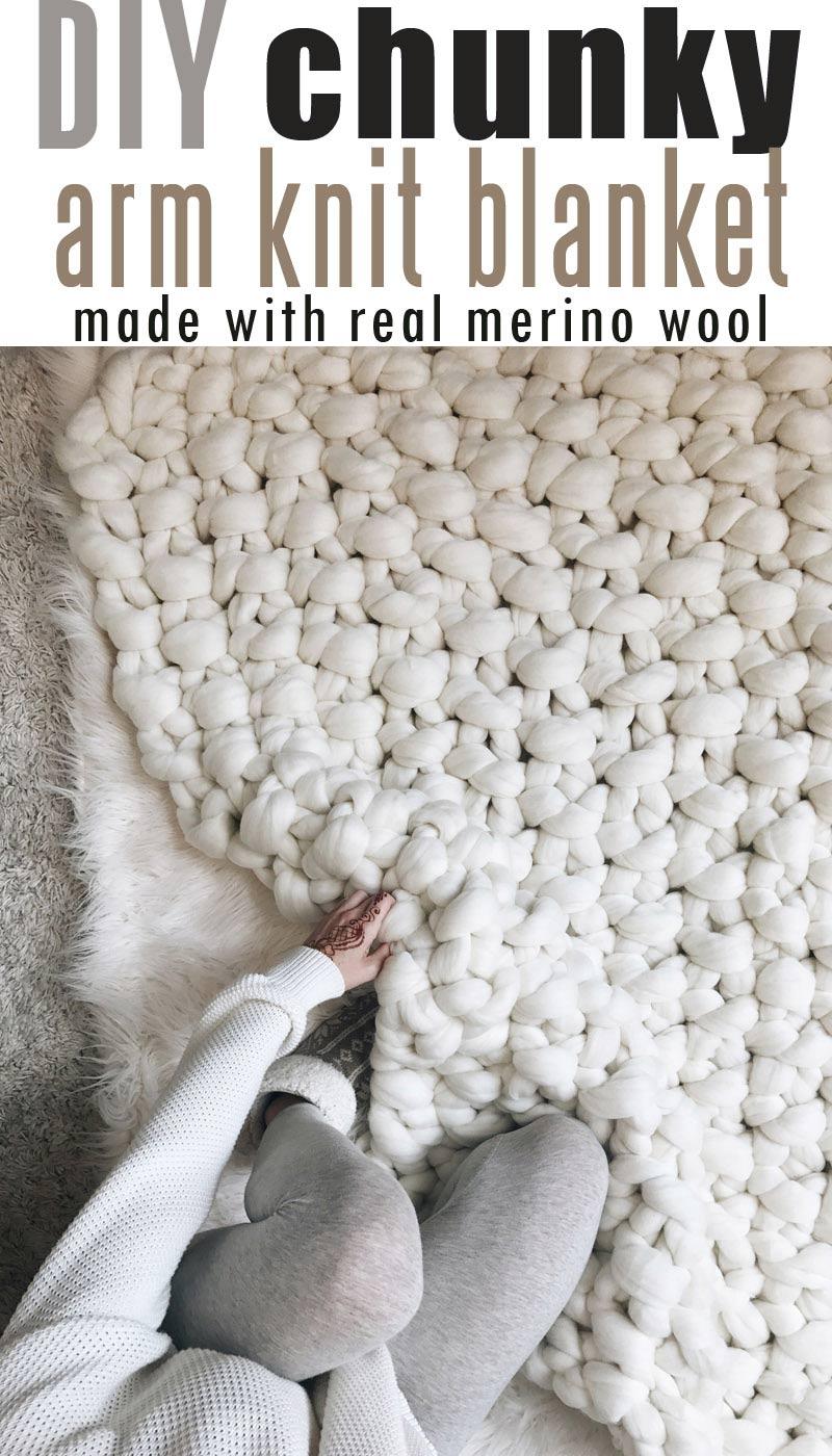 How-to-Make-Giant-Merino-Wool-Yarn-Blanket #chunkymerinowoolyarn #armknitting #diychunkyblanket #chunkyblanket