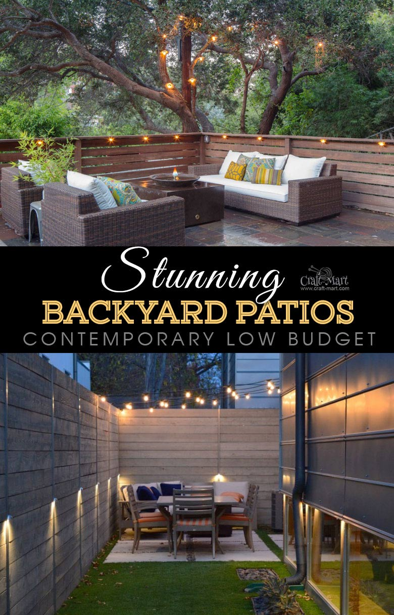Contemporary low-budget patio and deck lighting. One of the best backyard patio designs with outdoor ceiling lights that may help with your own patio ideas or outdoor landscape lighting. Perfect for small backyard patio. #outdoorspace #outdoordecor #outdoorspaces #patiodecor #patio