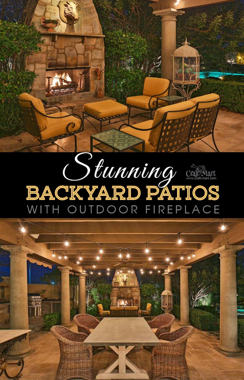 Traditional patio with pergola and outdoor fireplace. One of the best backyard patio designs with outdoor ceiling lights that may help with your own patio ideas or outdoor landscape lighting. Perfect for small backyard patio. #outdoorspace #outdoordecor #outdoorspaces #patiodecor #patio