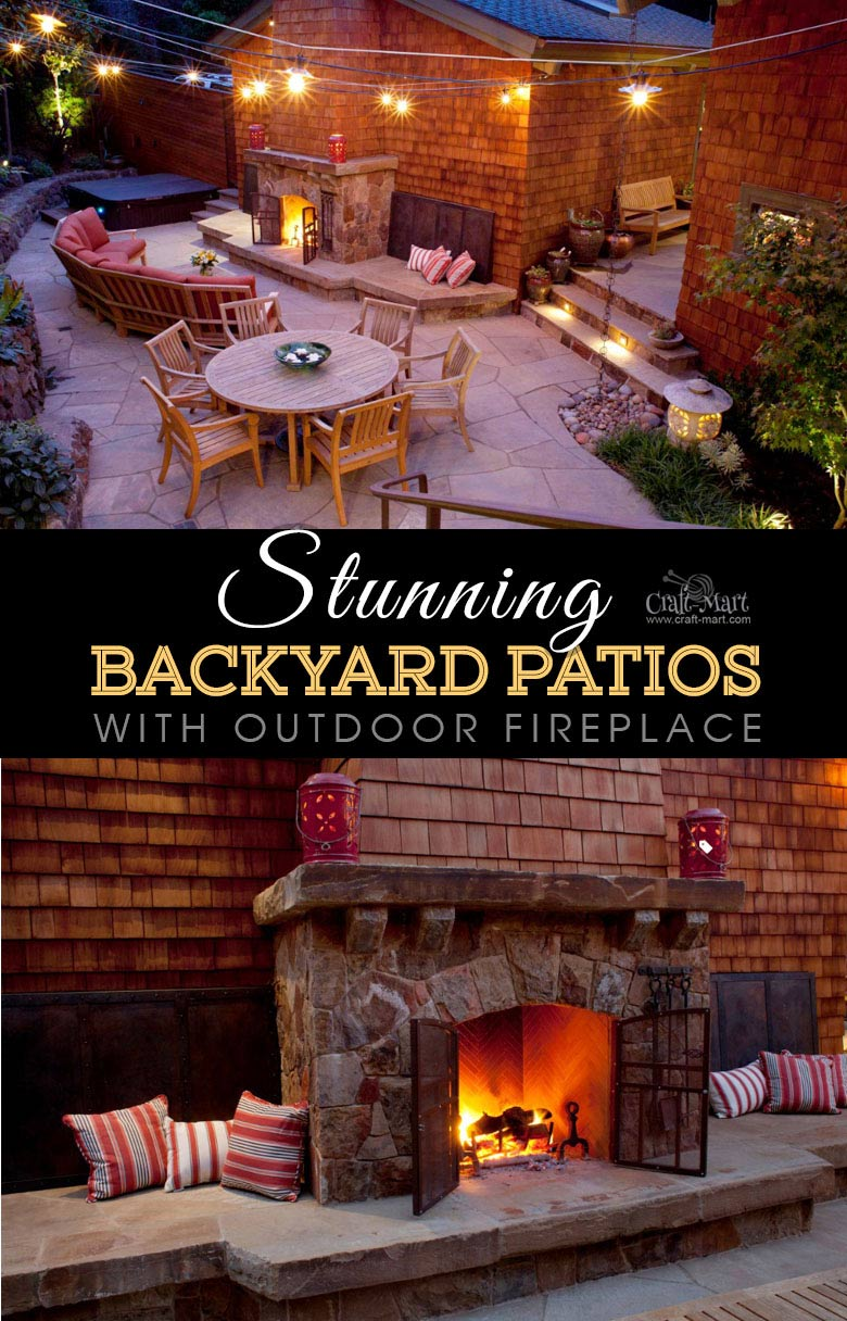 Inviting backyard patio lighting with cozy outdoor fireplace sitting area. One of the best backyard patio designs with outdoor ceiling lights that may help with your own patio ideas or outdoor landscape lighting. Perfect for small backyard patio. #outdoorspace #outdoordecor #outdoorspaces #patiodecor #patio