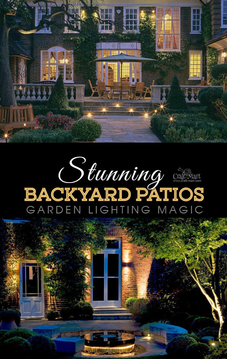 Traditional backyard lighting solution with wall-mounted and perimeter lights. One of the best backyard patio designs with outdoor ceiling lights that may help with your own patio ideas or outdoor landscape lighting. Perfect for small backyard patio. #outdoorspace #outdoordecor #outdoorspaces #patiodecor #patio