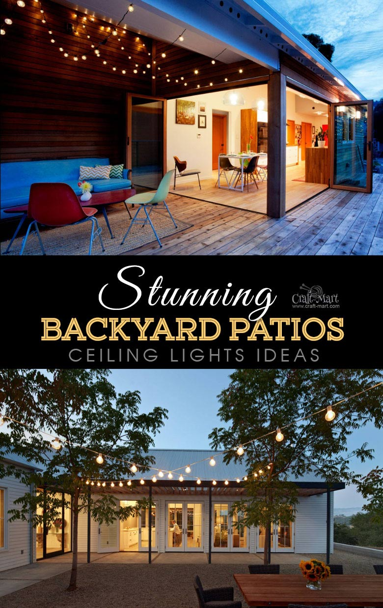 Ceiling lights for modern deck or patio. One of the best backyard patio designs with outdoor ceiling lights that may help with your own patio ideas or outdoor landscape lighting. Perfect for small backyard patio. #outdoorspace #outdoordecor #outdoorspaces #patiodecor #patio
