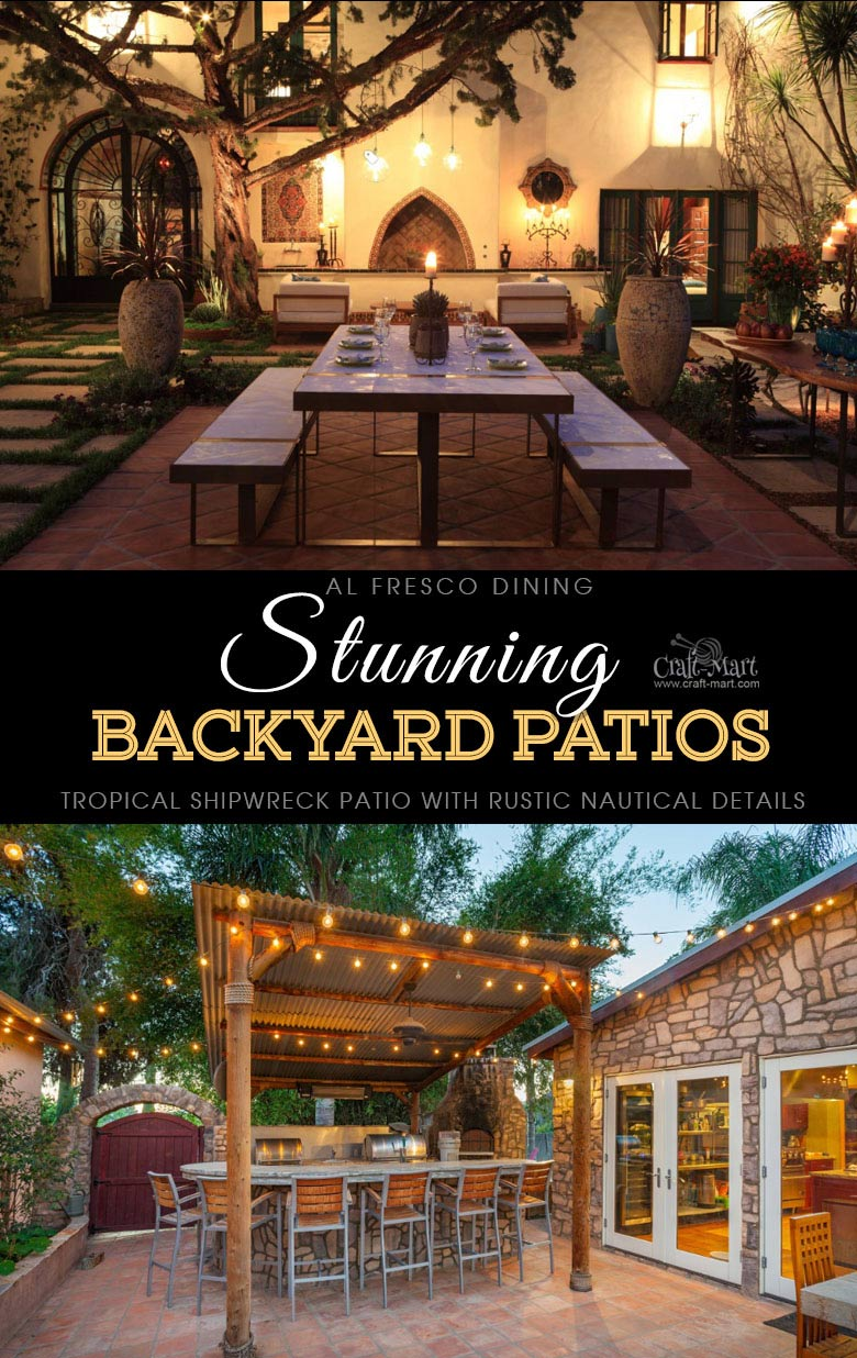 Lighted patios for al fresco dining and entertaining. One of the best backyard patio designs with outdoor ceiling lights that may help with your own patio ideas or outdoor landscape lighting. Perfect for small backyard patio. #outdoorspace #outdoordecor #outdoorspaces #patiodecor #patio