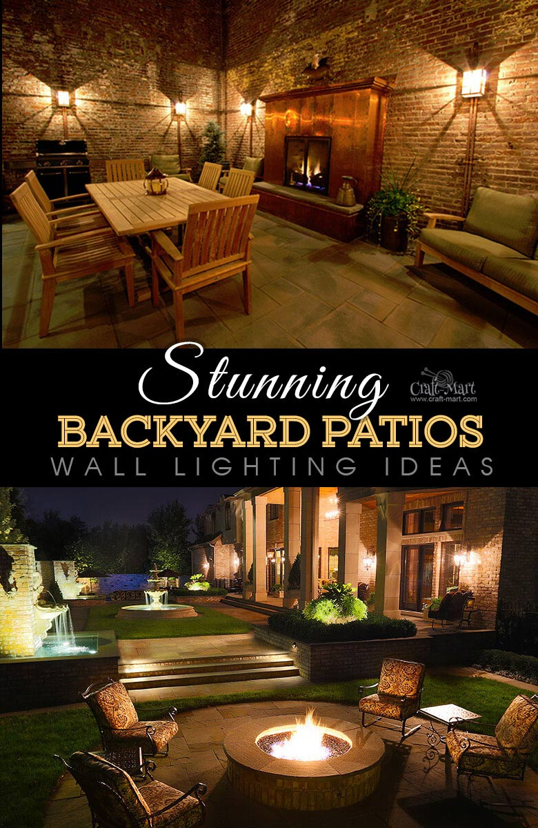 Wall-mounted backyard patio lights. One of the best backyard patio designs with outdoor ceiling lights that may help with your own patio ideas or outdoor landscape lighting. Perfect for small backyard patio. #outdoorspace #outdoordecor #outdoorspaces #patiodecor #patio