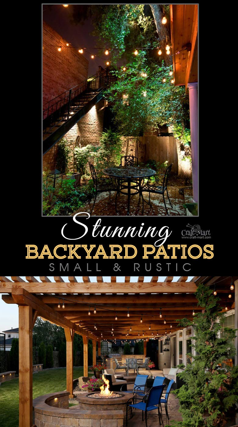 A rustic and small patio with outdoor ceiling lights. One of the best backyard patio designs with outdoor ceiling lights that may help with your own patio ideas or outdoor landscape lighting. Perfect for small backyard patio. #outdoorspace #outdoordecor #outdoorspaces #patiodecor #patio