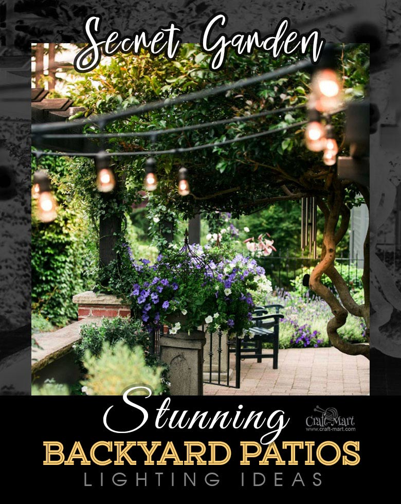 Secret garden with simple string lights. One of the best backyard patio designs with outdoor ceiling lights that may help with your own patio ideas or outdoor landscape lighting. Perfect for small backyard patio. #outdoorspace #outdoordecor #outdoorspaces #patiodecor #patio