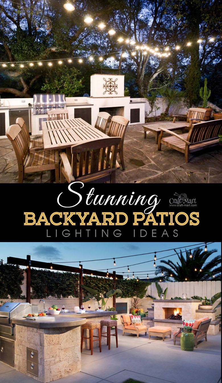 Paved patios with outdoor kitchen and string lights. One of the best backyard patio designs with outdoor ceiling lights that may help with your own patio ideas or outdoor landscape lighting. Perfect for small backyard patio. #outdoorspace #outdoordecor #outdoorspaces #patiodecor #patio