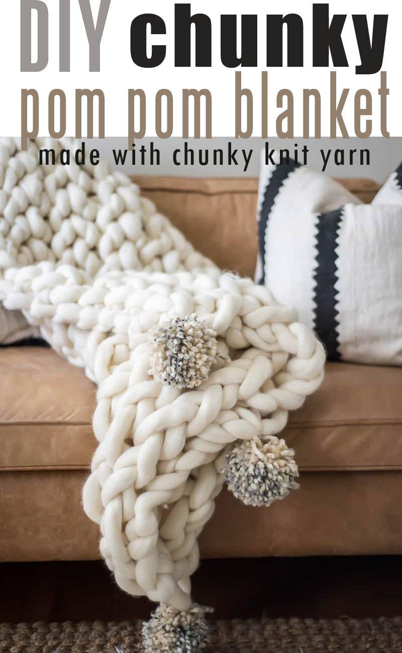 ARM KNIT POM-POM BLANKET TUTORIAL using arm knit blanket yarn #chunkyyarn #giantarmknit #diychunkyblanket #chunkyblanket #chunkylapthrow #pompomchunkyblanket