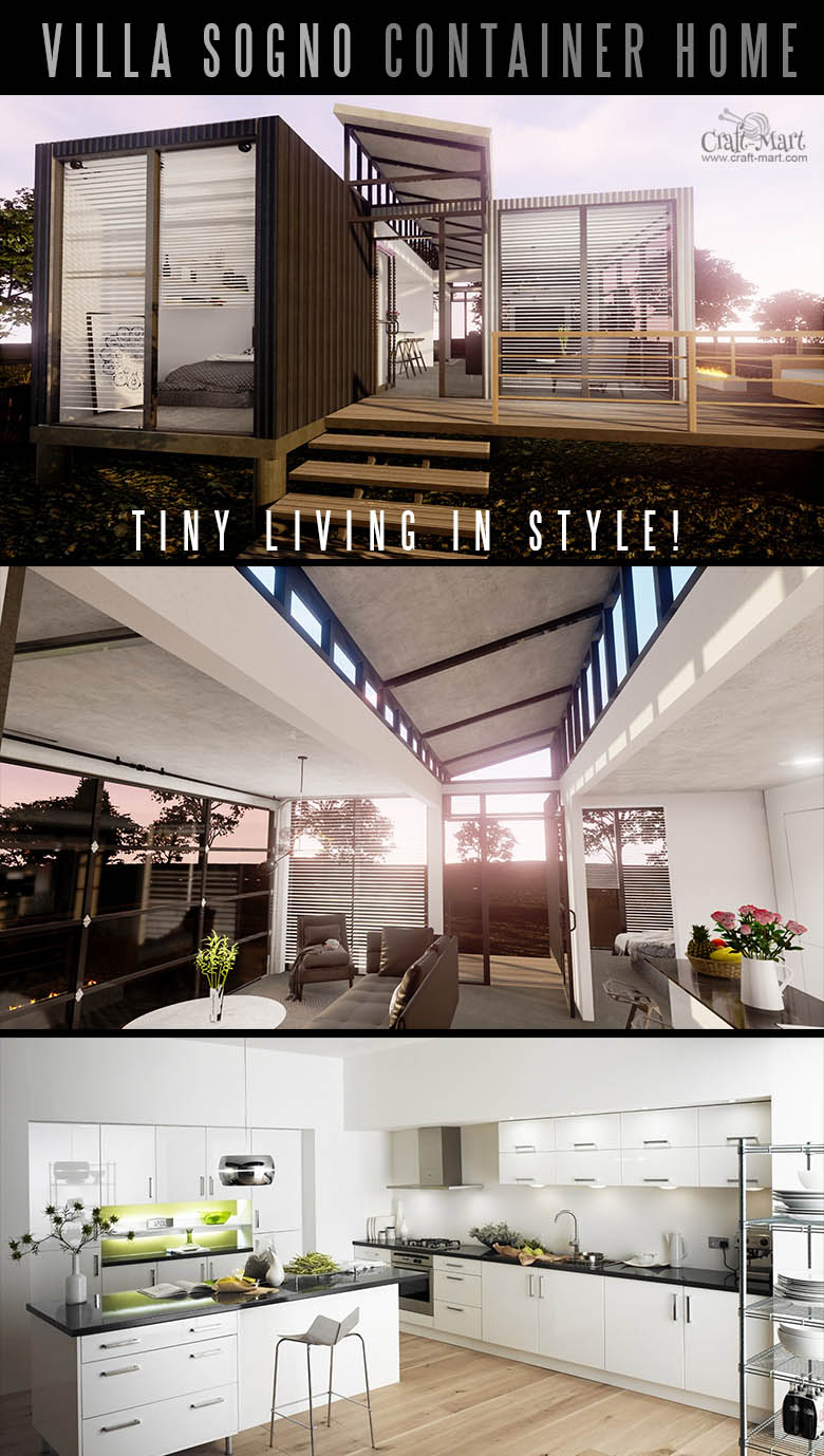 Gorgeous container Home Villa with tons of space. Tiny home can be elegant and beautiful even if it's built out of containers. #tinyhouse #tinyhouseplans #minimalism
