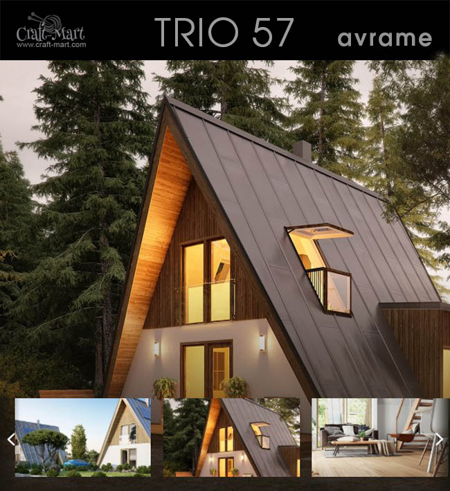 "TRIO 57 Prefab Tiny House Another Avrame model home for ""off the grid"" living anywhere on the planet. Just perfect for ski chalet or writer's retreat...#tinyhouse #tinyhouseplans #minimalism"