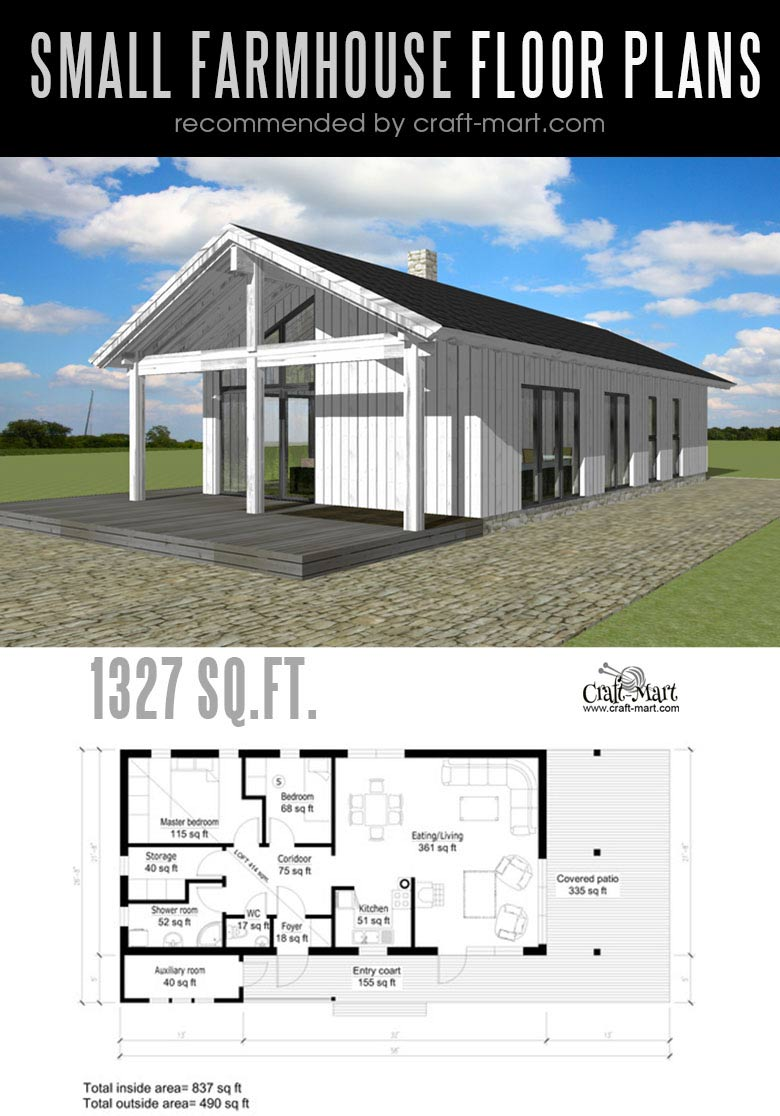 Small modern farmhouse plans for building a home of your for Modern farmhouse plans small