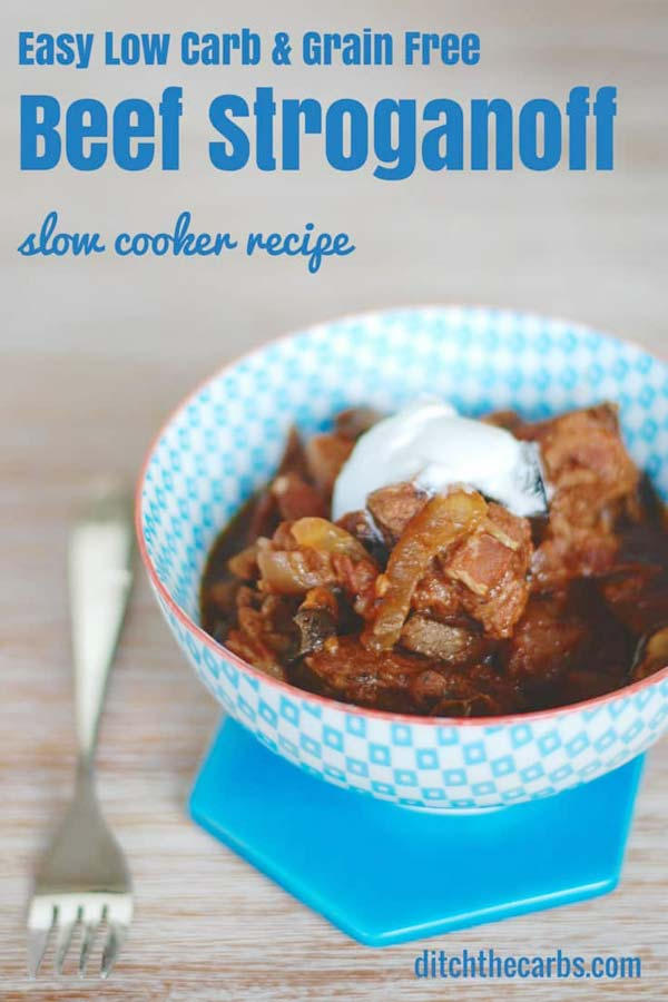 LOW CARB BEEF STROGANOFF easy keto crockpot recipes - collection by craft-mart.com #easyketomeals #ketoslowcookerdinnerrecipes #ketocrockpotrecipes #ketochickenrecipe #ketobeefstroganoff #ketobeefdinner