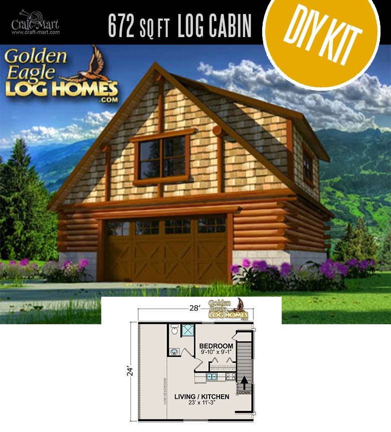 The Starter Log Cabin by Golden Eagle Log & Timber Homes - quality small log cabin kits and pre-built cabins that you can afford! Choose from a few options of pre-built cabins to small log cabin kits that you'll be able to assemble in 3-4 weeks saving on labor close to 1/3 of the total cost. #tinyhouses #logcabins #countryliving