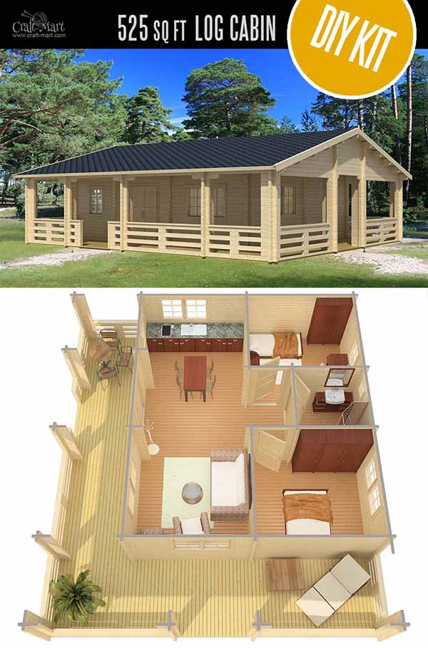 Riopas Cabin/Home by EZ Log Structures - quality small log cabin kits and pre-built cabins that you can afford! Check out these Estonian super quality cabin homes that are even more affordable than US-made log cabins! #tinyhouses #logcabins #countryliving