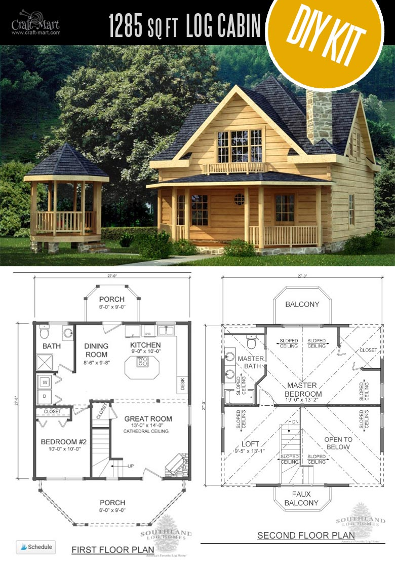 Salem Log Cabin by Southland Log Homes - Choose from a few options of pre-built cabins to log cabin kits that you'll be able to assemble in 4-5 weeks saving on labor close to 1/3 of the total cost. #logcabins #countryliving