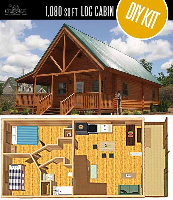 Mountain King Log Cabin by Conestoga Log Cabins & Homes - quality small log cabin kits and pre-built cabins that you can afford! Choose from a few options of pre-built cabins to small log cabin kits that you'll be able to assemble in 3-4 weeks saving on labor close to 1/3 of the total cost. #tinyhouses #logcabins #countryliving