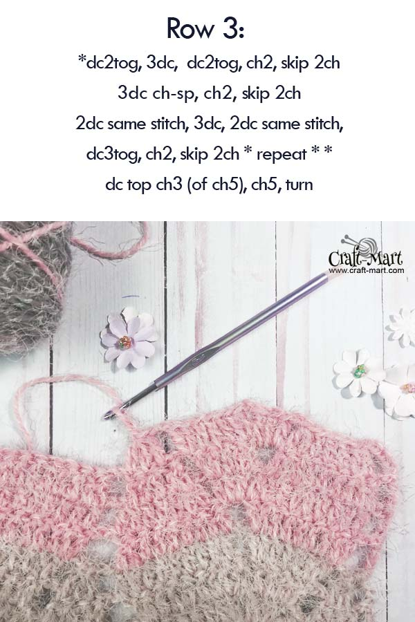 ROW3: Easy Fall Leaves scarf (or wrap) - free crochet pattern made with Caron latte cakes yarn, easy crochet scarf patterns, crochet patterns for beginners step-by-step, how to crochet a shawl for beginners step by step, #moderncrochetpatternsfree #crochetwrapfreepattern #howtocrochetaquickandeasyshawl, #easycrochetscarfpatterns #freecrochetscarfpatterns