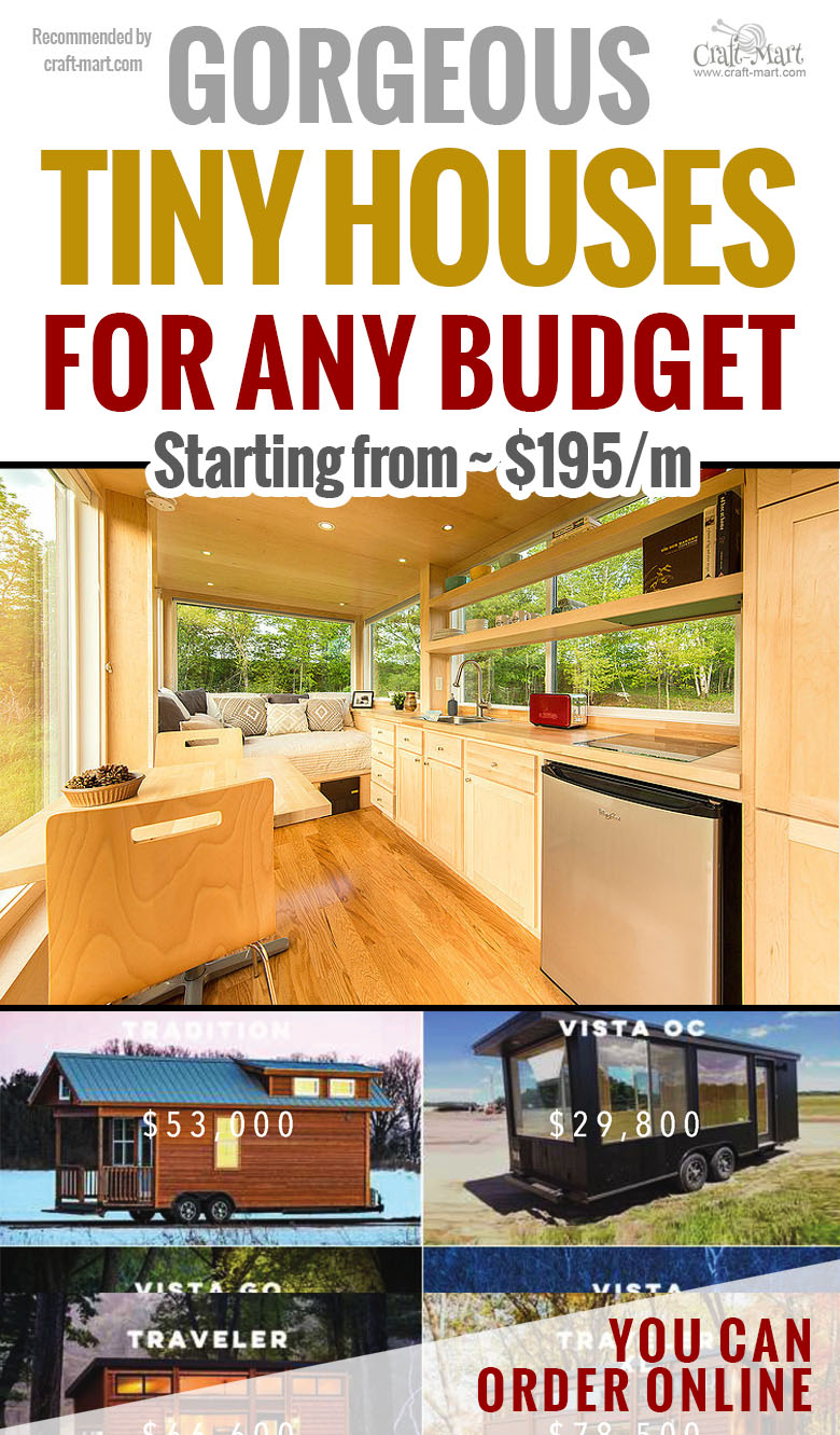 """These tiny house trailers can really be the way to live debt-free. Even if you can't afford to buy one for cash imagine paying only $195/m! Forbes Magazine called them """"The Most Beautiful Tiny Houses In The World"""". Why do you need the burden of huge mortgages and property taxes? #tinyhouse #tinyhouseplans #minimalism"""