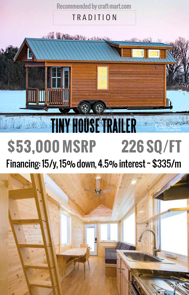 The huge sleeping loft with optional dormers, great kitchen + lots of storage. Buy one of the most beautiful tiny house trailers with easy financing starting from $195/m! #tinyhouse #tinyhouseplans #minimalism