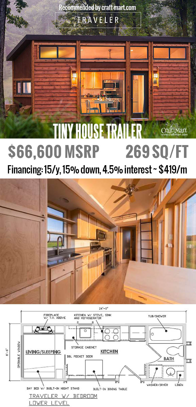 Traveler model has huge windows & modern interior. Do you have a place to put one of these tiny houses? Get one of these for FREE and start earning money from renting it! Or simply buy one of the most beautiful tiny house trailers with easy financing starting from $195/m! #tinyhouse #tinyhouseplans #minimalism