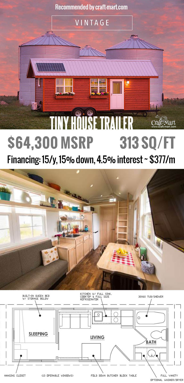 Vintage is full of light with a dozen, large opening windows. Do you have a place to put one of these tiny houses? Get one of these for FREE and start earning money from renting it! Or simply buy one of the most beautiful tiny house trailers with easy financing starting from $195/m! #tinyhouse #tinyhouseplans #minimalism