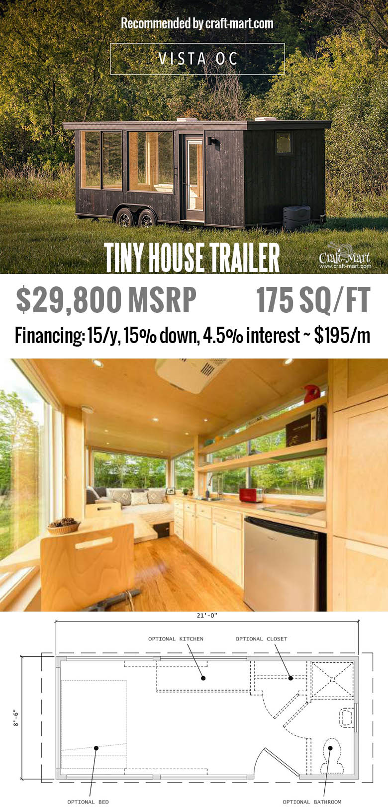 One of the most affordable and beautiful tiny houses. Get one of these for FREE and start earning money from renting it! Or simply buy one of the most beautiful tiny house trailers with easy financing starting from $195/m! #tinyhouse #tinyhouseplans #minimalism