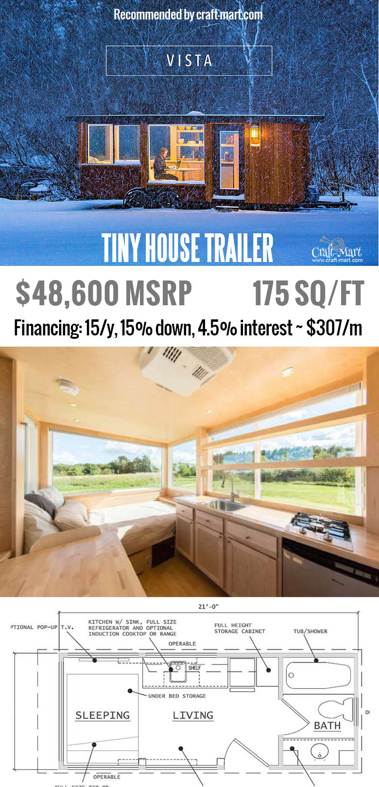 Vista is perfect for a guest house Do you have a place to put one of these tiny houses? Get one of these for FREE and start earning money from renting it! Or simply buy one of the most beautiful tiny house trailers with easy financing starting from $195/m! #tinyhouse #tinyhouseplans #minimalism