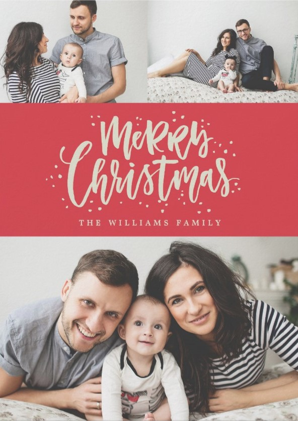 """""""Merry & Bright"""" Simple Christma Family Portrait Photos - Christmas Cards Ideas to Cheer Up your Family and Friends"""