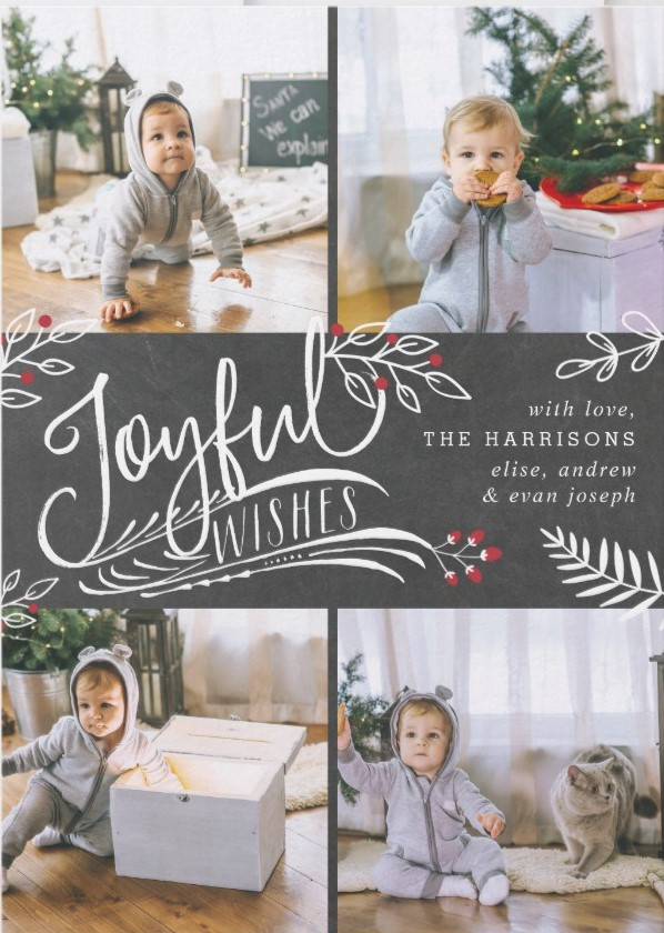 Christmas Cards Ideas to Cheer Up your Family and Friends - Chalkboard Style with Cute Christmas Photos.