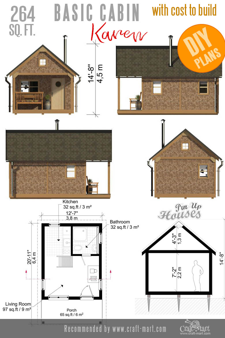 Tiny Cabin Plans and elevations