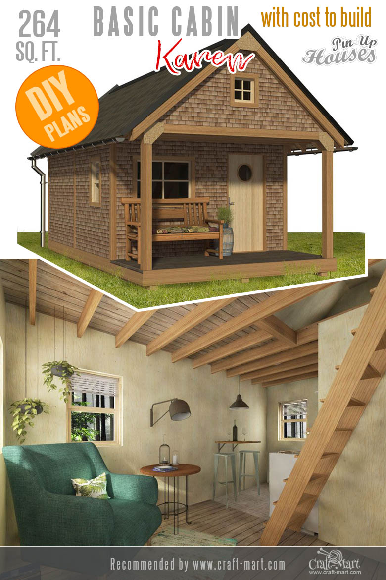 Tiny Cabin Plans with a loft and a porch