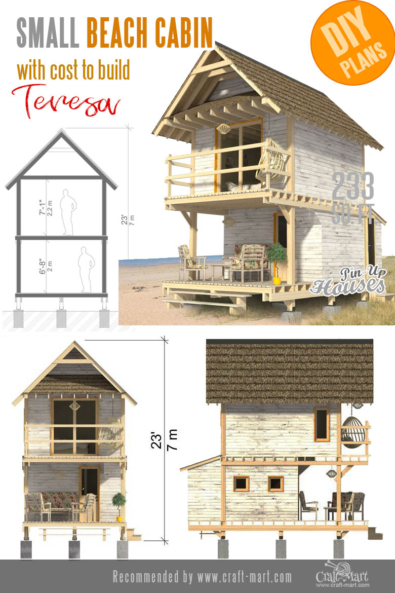 Small Beach Cabin Plans with cost to build