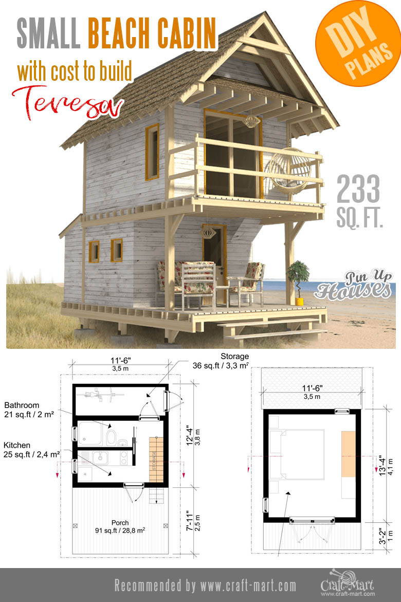 tiny modern cabin plans for beach