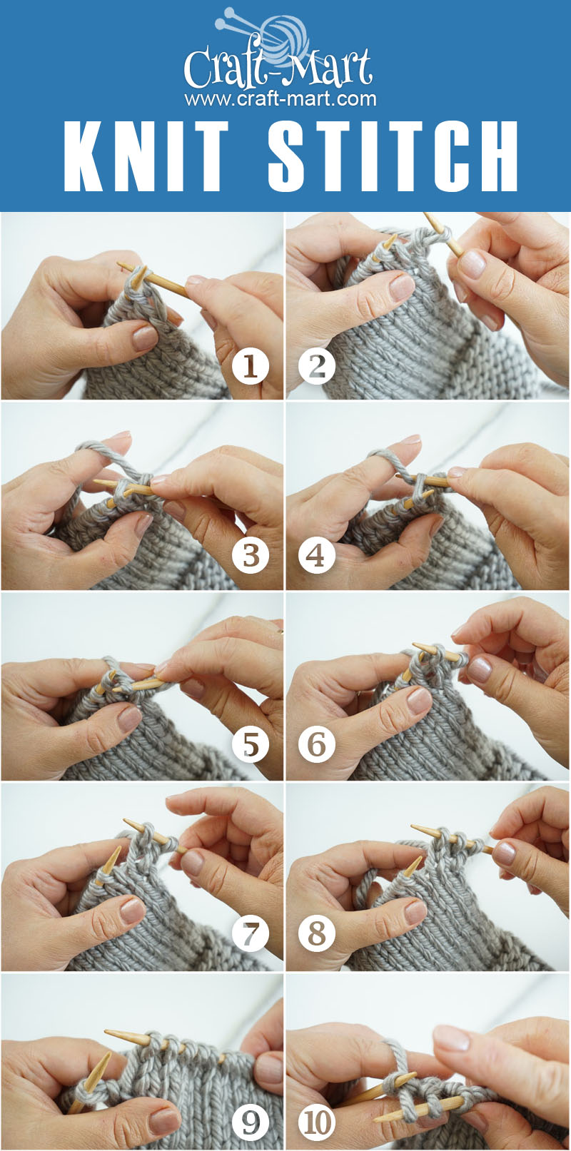 knit stitch step-by-step photo tutorial of basic knitting stitch for beginners