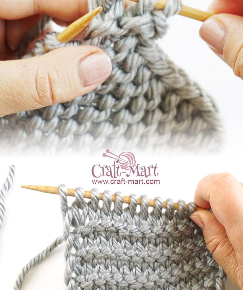 how to do a knit stitch and garter stitch by craft-mart.com