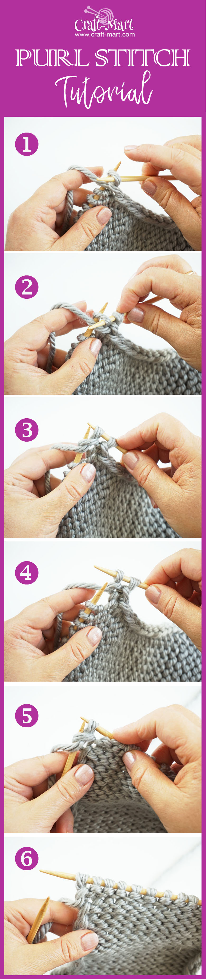 how to knit purl stitch for beginners by craft-mart.com