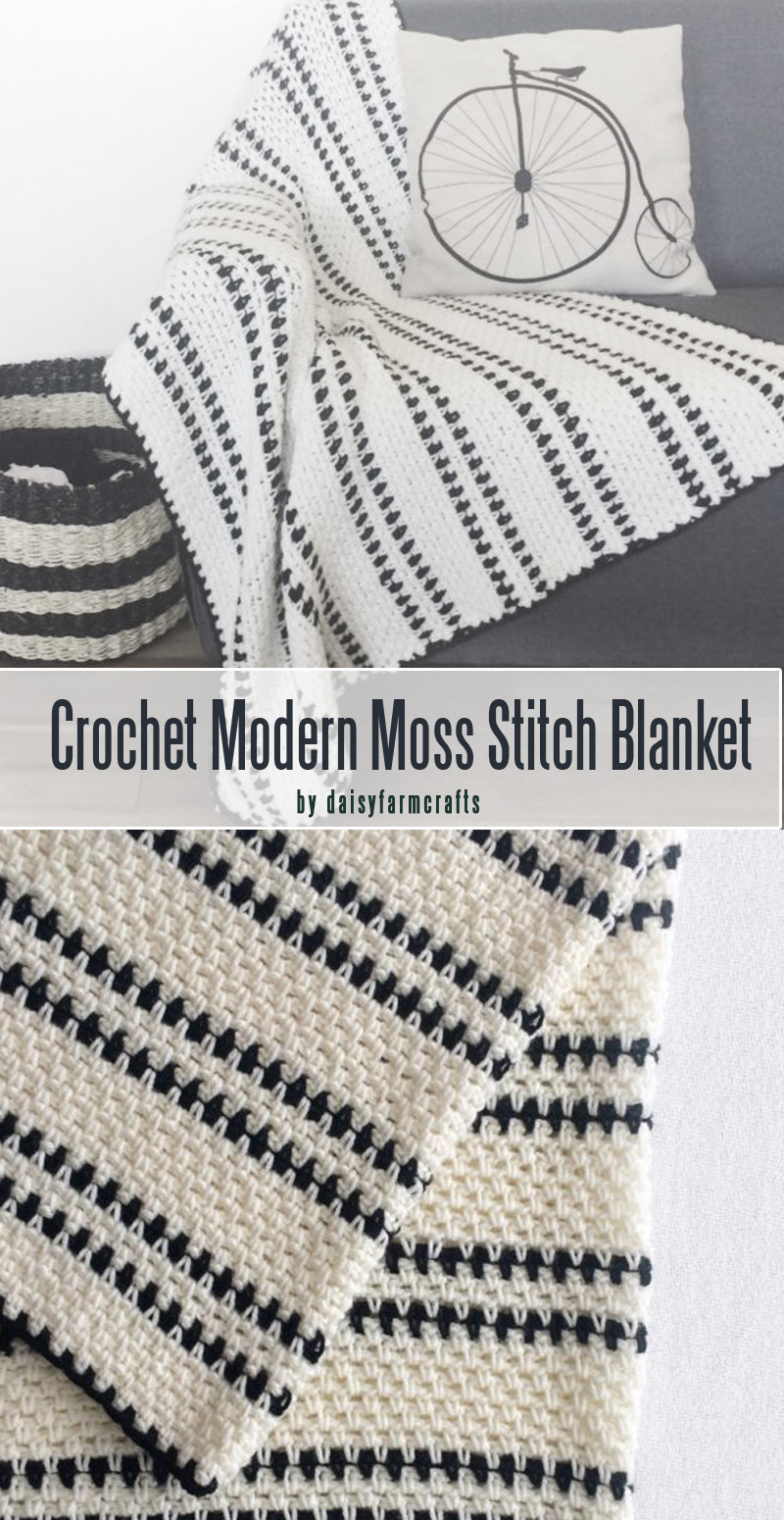 Crochet Modern Moss Stitch Blanket for beginners curated by craft-mart.com #crochetfreepattern #crochet4beginners #freecrochetbabyblanketpattern