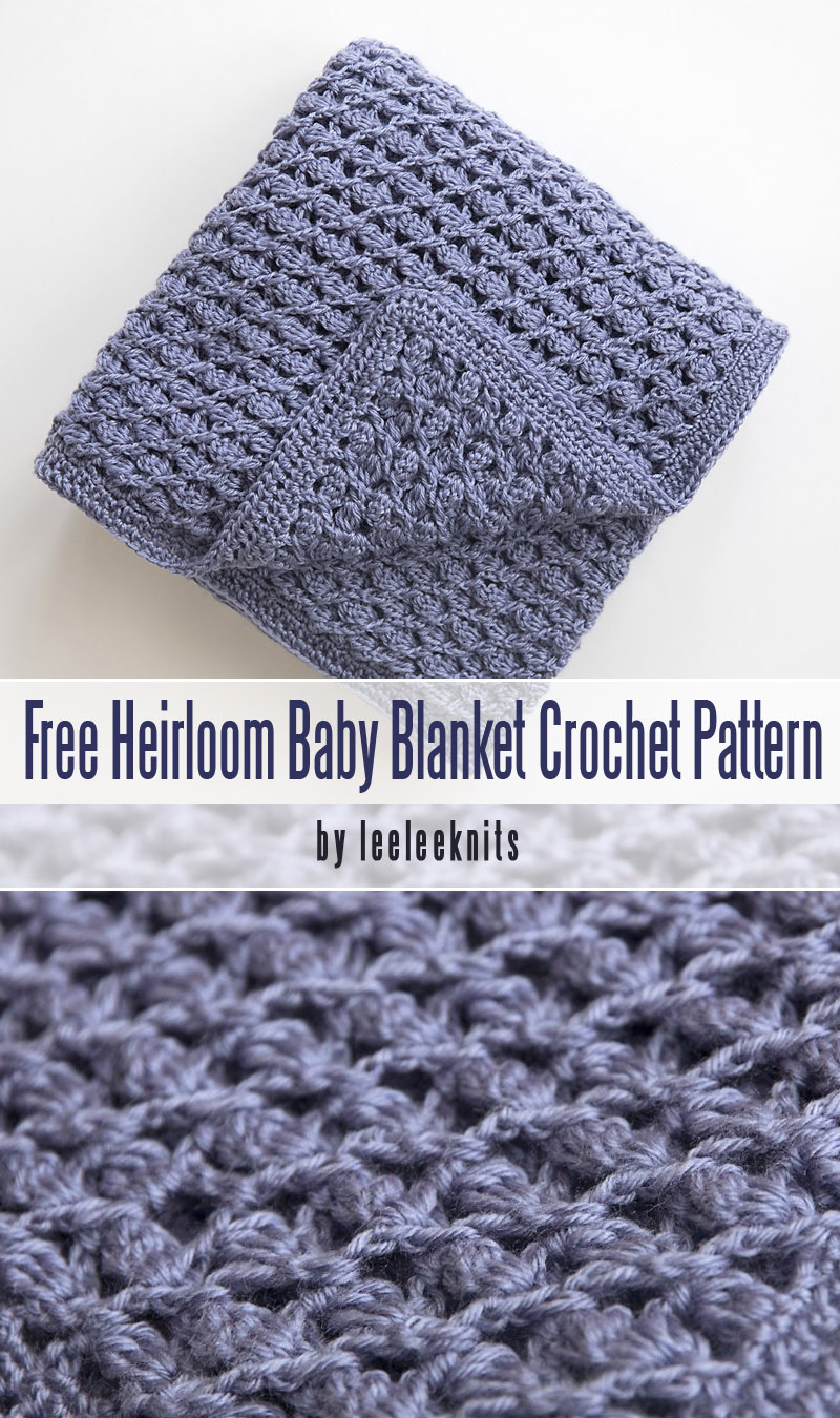 Free Heirloom Baby Blanket Crochet Pattern - easy best crochet baby blankets for beginners collection by craft-mart.com #crochetfreepattern #crochet4beginners #freecrochetbabyblanketpattern #easycrochetprojects