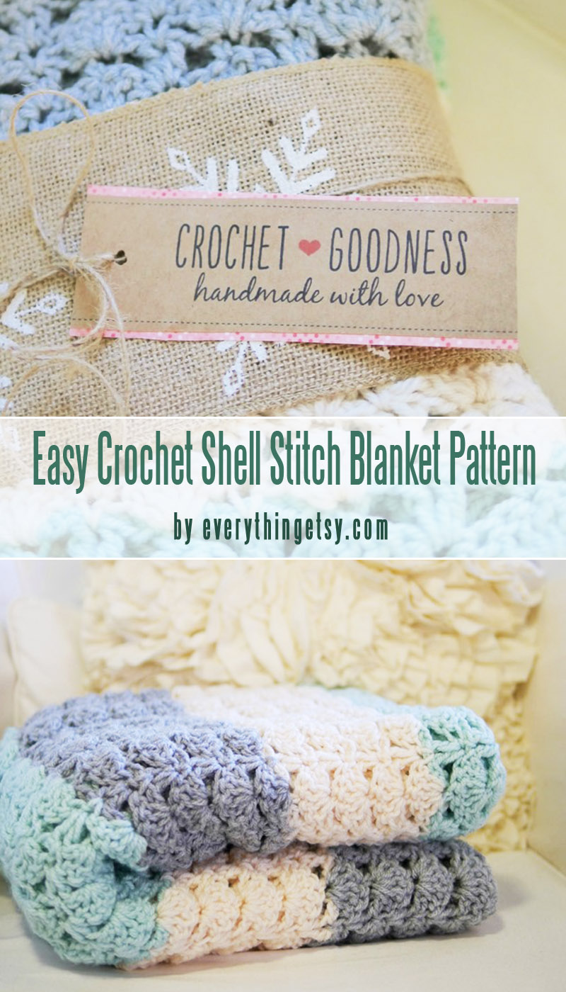 Easy Crochet Shell Stitch Blanket Pattern with free printables labels for beginners curated by craft-mart.com #crochetfreepattern #crochet4beginners #freecrochetbabyblanketpattern #easycrochetprojects