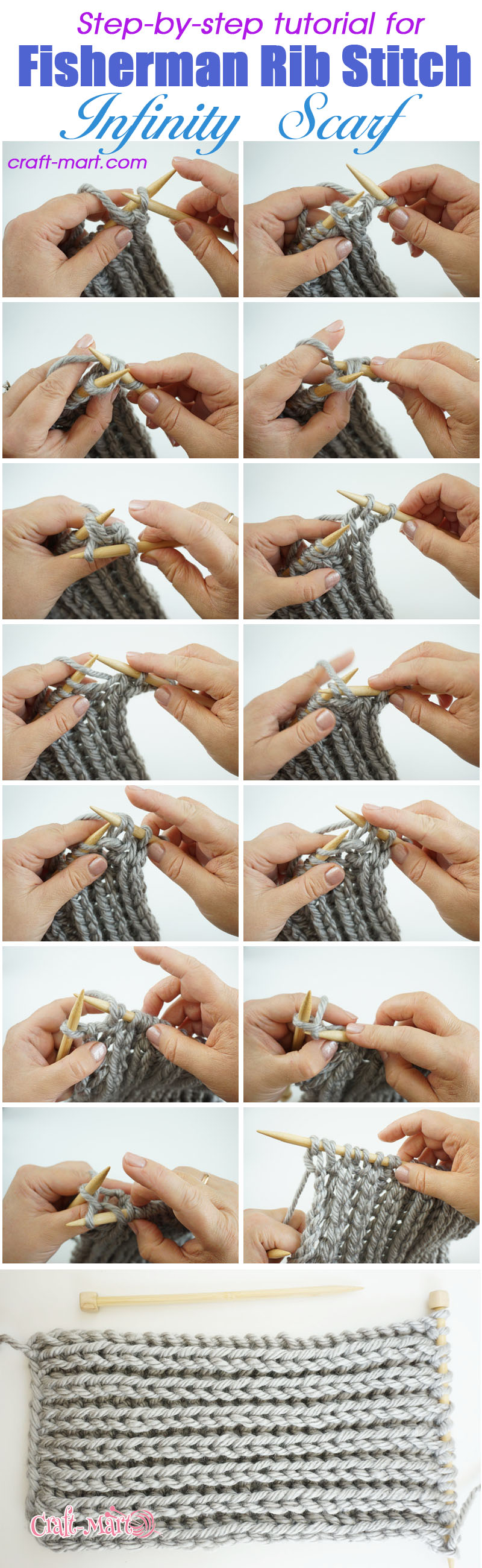 pattern for infinity scarf - fisherman rib knitted infinity scarf tutorial