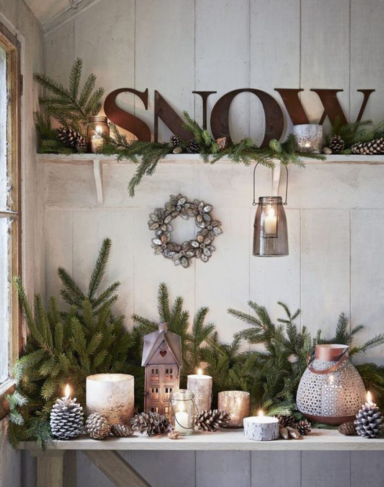 Rustic Christmas Open Shelves Display decoration ideas with Christmas tree branches and ornaments