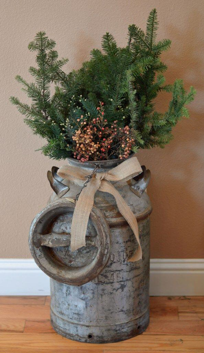 Rustic Milk Can Arrangement - diy christmas decor ideas