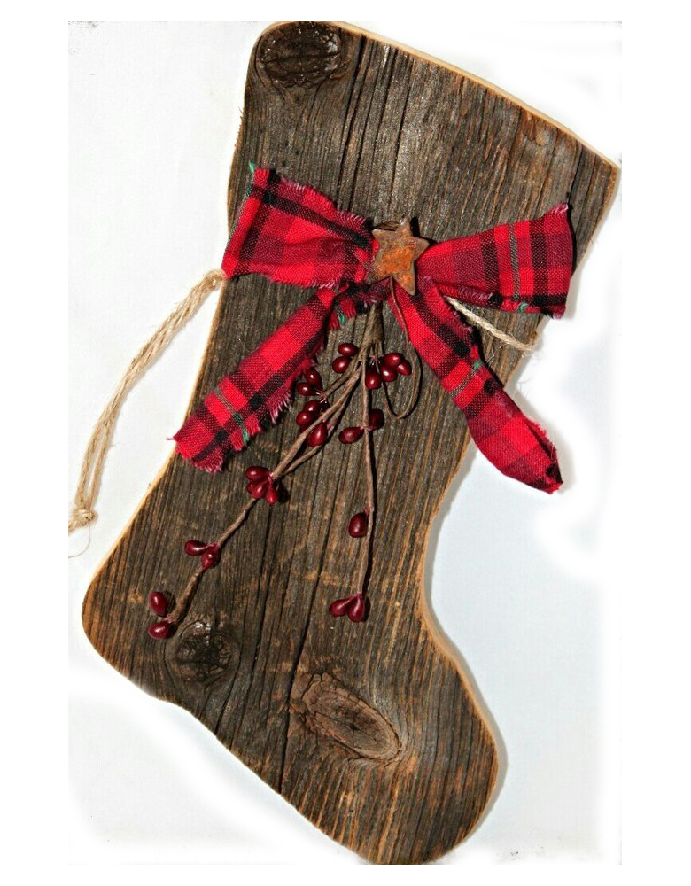 Large Barn Wood Santa Stocking - diy rustic christmas decor ideas that are easy and fun!