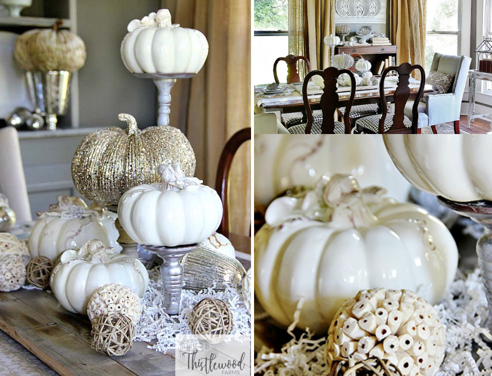 white and gold pumpkins tablescape