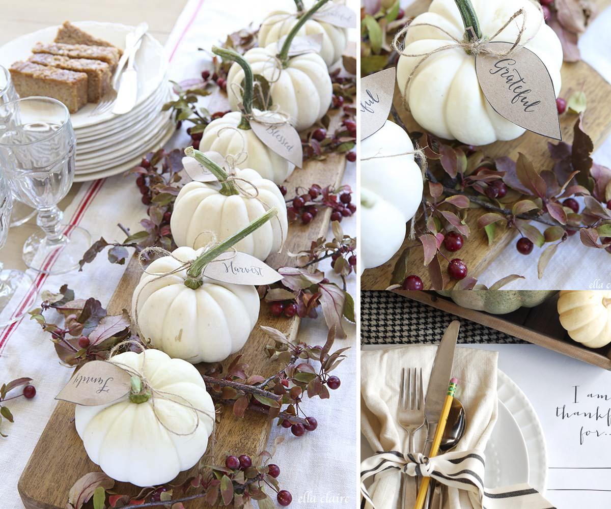 Simple White Pumpkin Flower Arrangement
