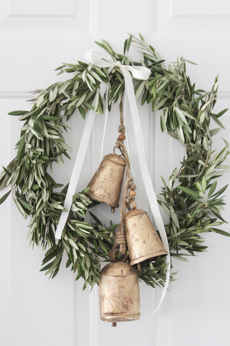 Simple Olive Branch Wreath with antique-looking bells - rustic Christmas ornaments